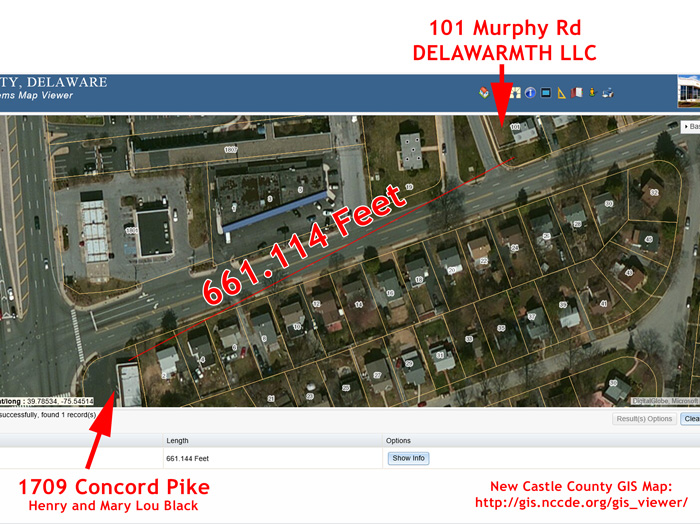 661 feet between 101 Murphy Rd and 1709 Concord Pike