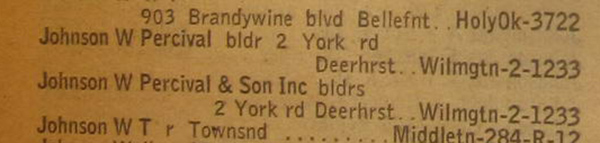 W Percival Johnson & Son at 2 York Rd in 1946