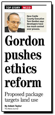 Gordon Pushes Ethics Reform